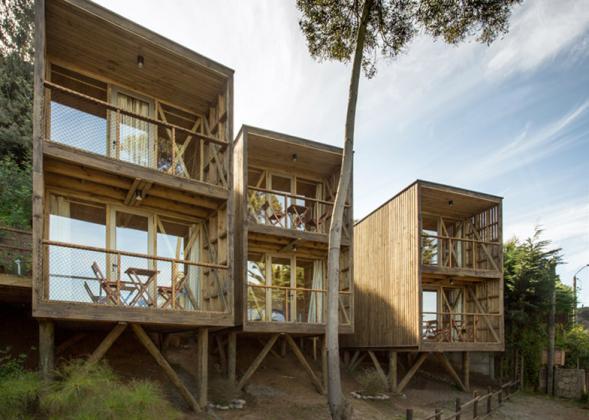 Ubytování v Chile ze surového dřeva