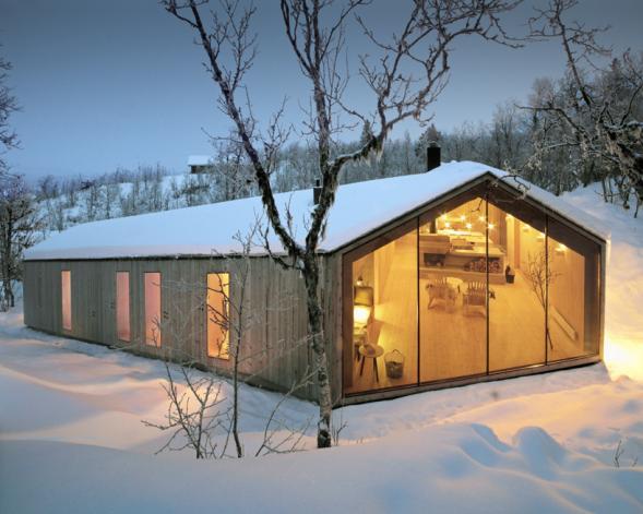 Dřevěná chata v Norsku