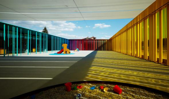 Nursery behind Colourful Fence